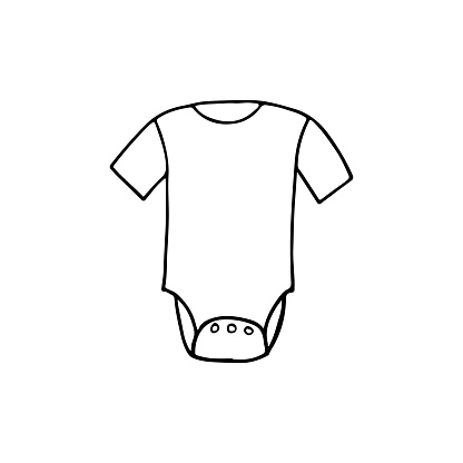 Doodle baby cloth icon in vector. Hand drawn baby cloth icon in vector. Doodle newborn cloth in vector