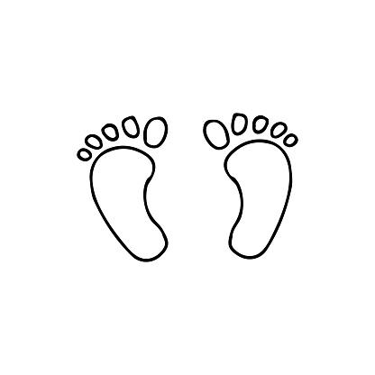 Doodle baby footprints icon in vector. Hand drawn baby footprints icon in vector