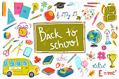 Doodle back to school collection. Vector illustrations in sketchy light style. Bright colors