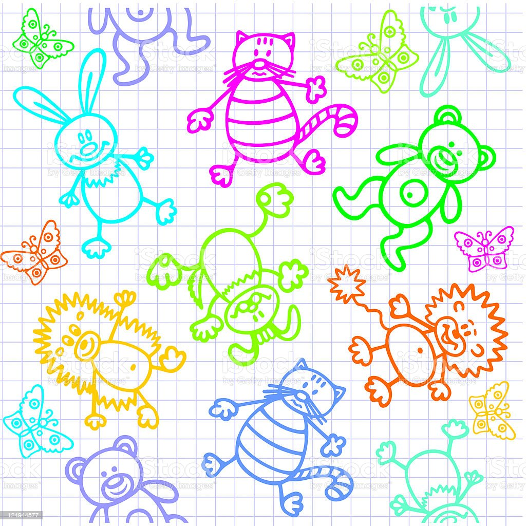 Doodle background. Animals. Seamless. royalty-free stock vector art