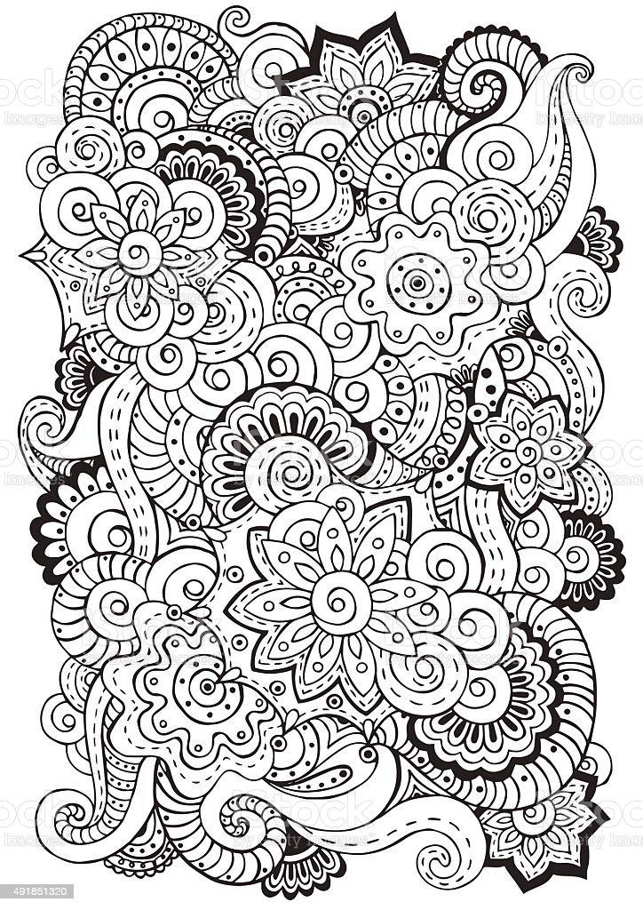 Garabatos fondo de vector con flores paisley. Blanco y negro. - ilustración de arte vectorial