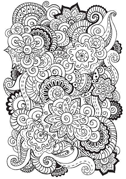 Doodle Background In Vector With Flowers Paisley Black And White Art Illustration Space Coloring Page