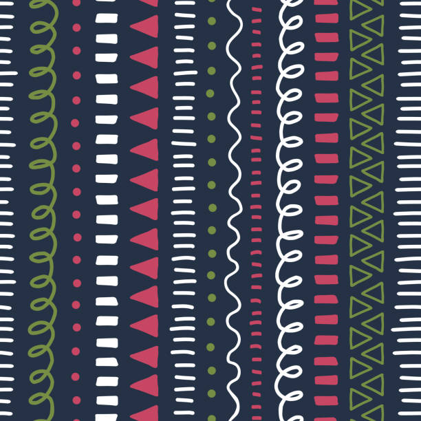 Doodle background. Modern abstract Seamless vector pattern. Ethnic and tribal style background pink, green, white, black. Hand drawn vertical strokes, lines, triangles repeating kids backdrop. vector art illustration