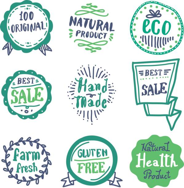 Doodle Badge The vector file of doodle badge set natural condition stock illustrations