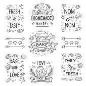 Set of vector bake shop and pastry logo and ornament in black isolated over white background