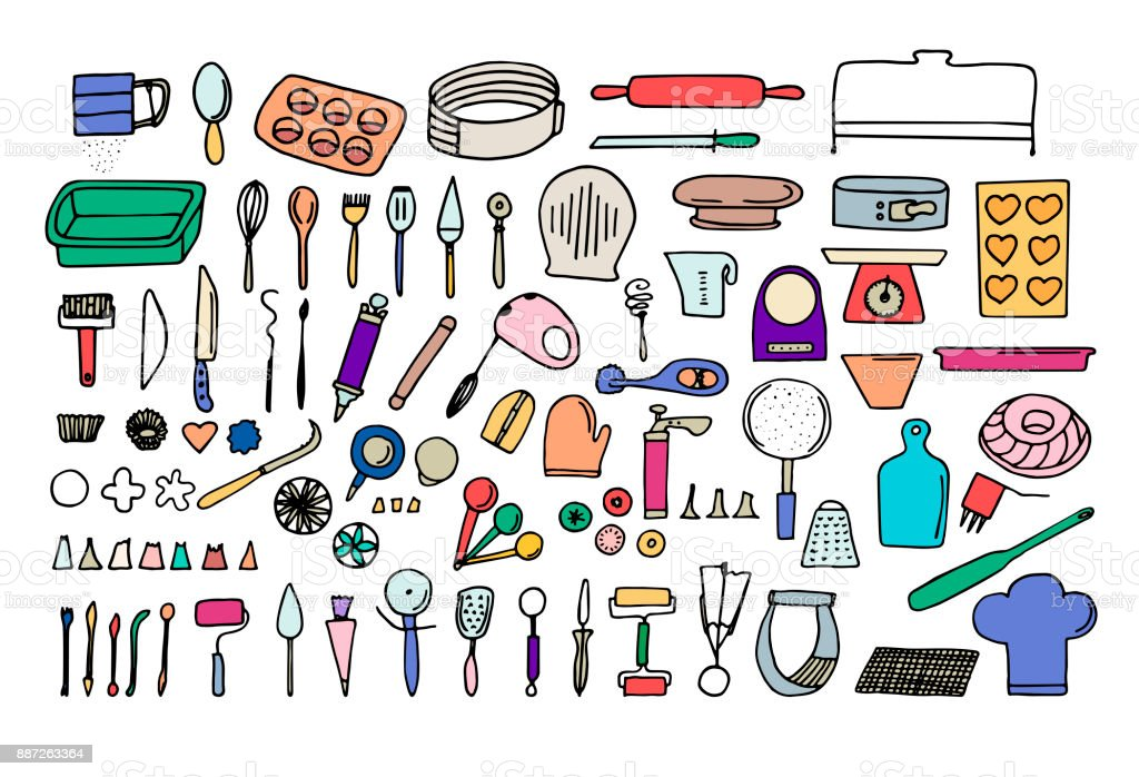 Doodle bakery supplies. Colorful line isolated vector icons. Kitchen utensils. vector art illustration