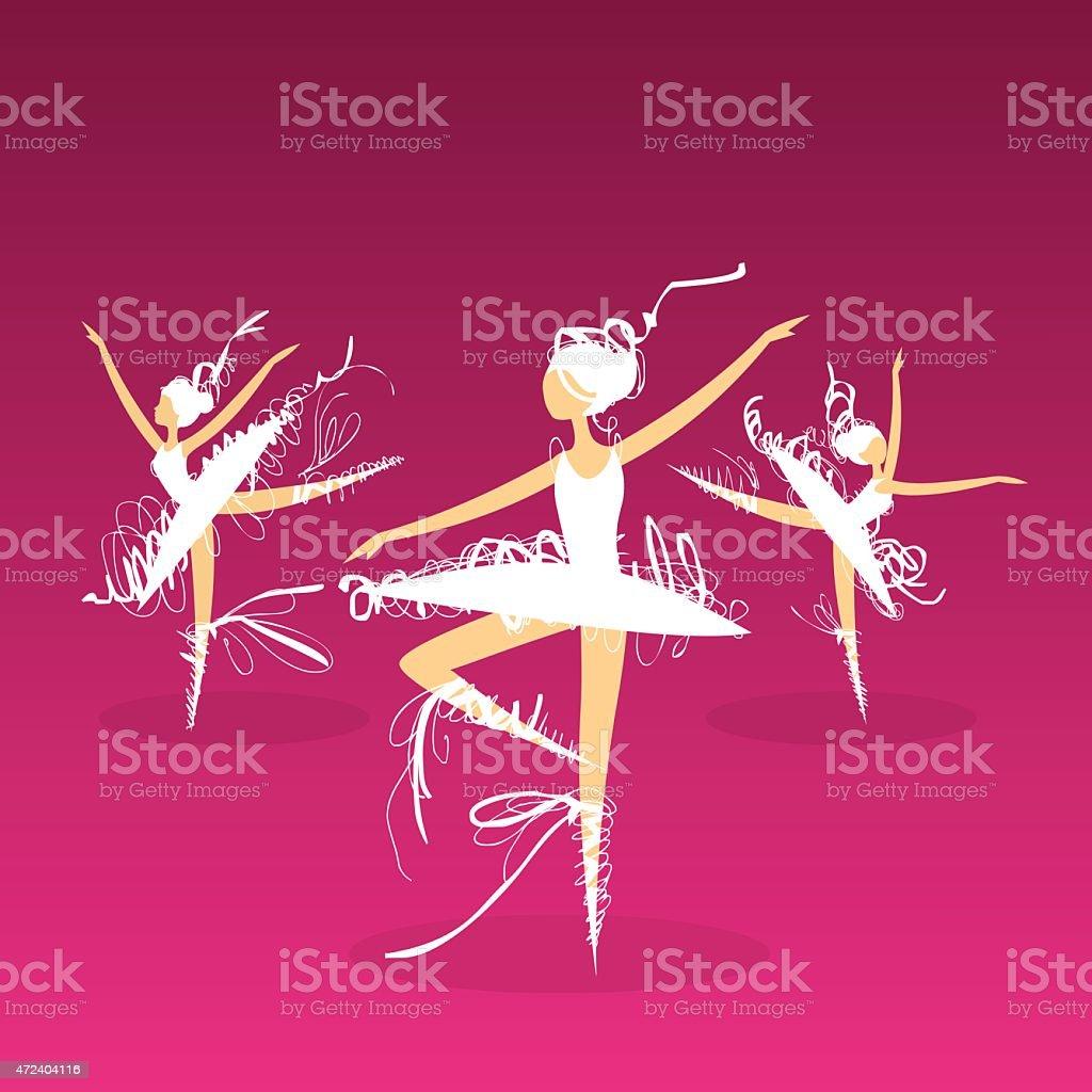 doodle ballet dancers on stage vector art illustration