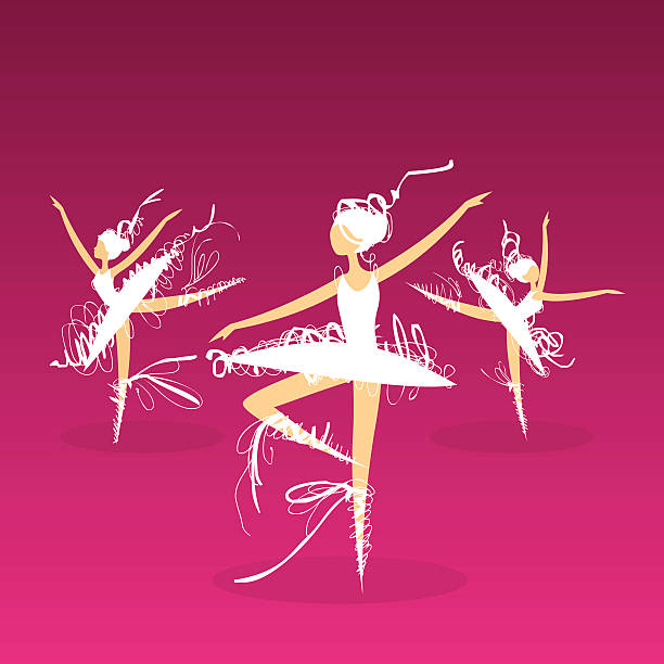 doodle ballet dancers on stage vector art illustration