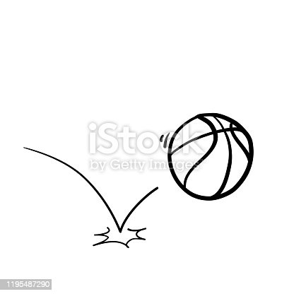 doodle basketball handdrawn illustration cartoon style vector
