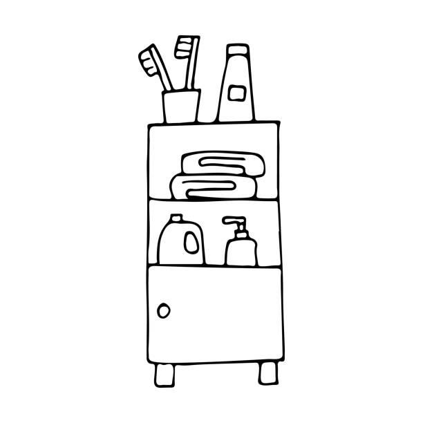 Doodle bath cupboard with bathroom accessories in vector. Hand drawn bath cupboard with bathroom accessories in vector. Outline bath cupboard with bathroom accessories in vector lagbok stock illustrations