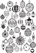 Hand drawn vector doodle christmas bauble decorations, quirky and fun festive clip art.