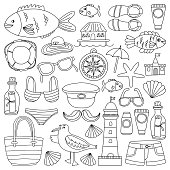Big doodle vector set with hand drawn elements Beach and Travel icons