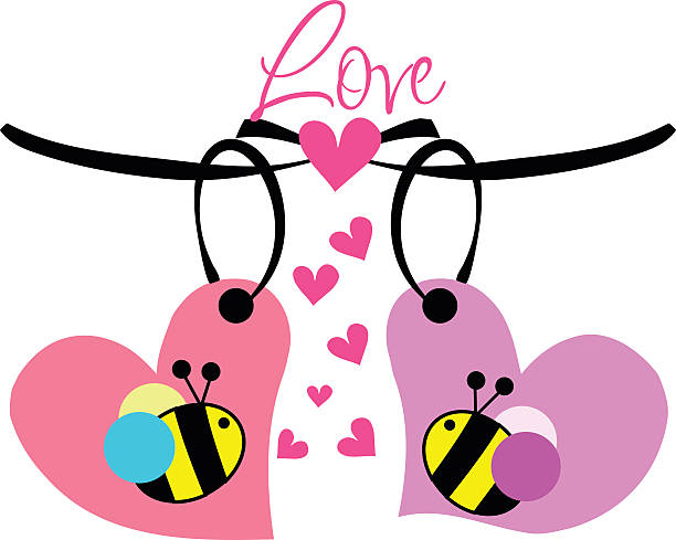 doodle bees illustration vector file向量藝術插圖