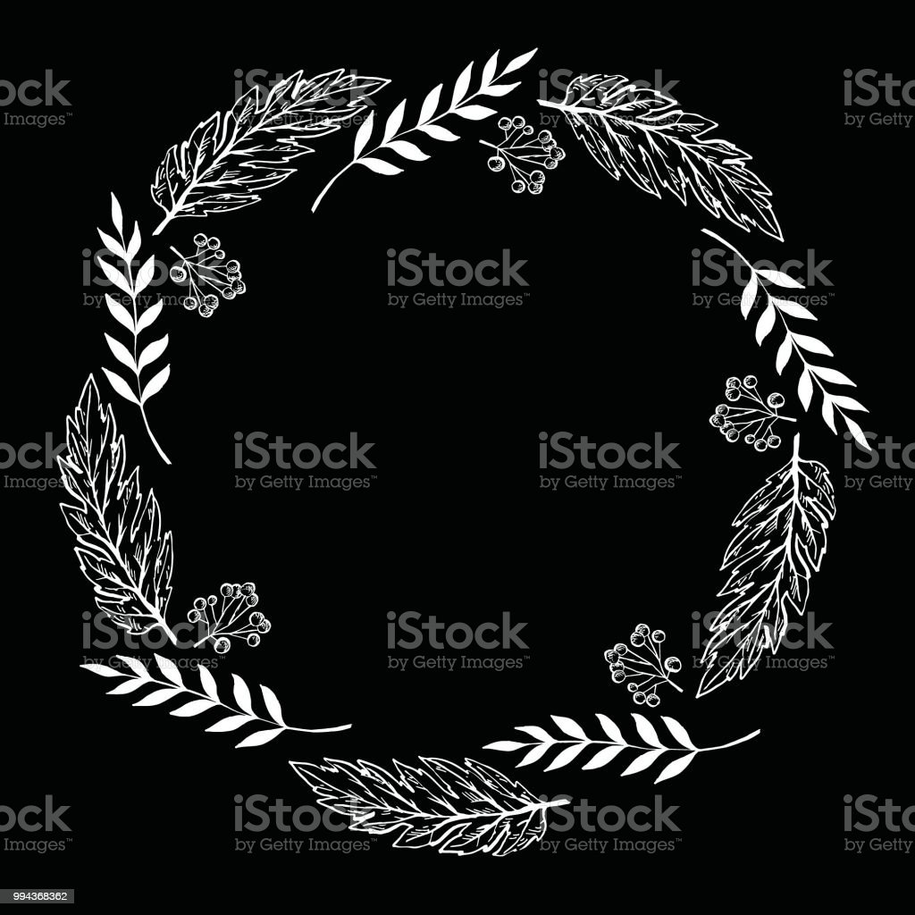 Doodle berry and leaf circle frame on a black background. Wreath of...