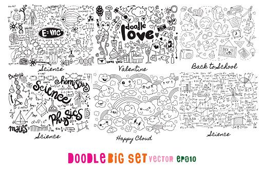 Doodle Big Set , Science, Love, Valentine, Back to school, cloud  ,Hand Drawn Vector Illustration of Doodle, illustrator line tools drawing,Flat Design