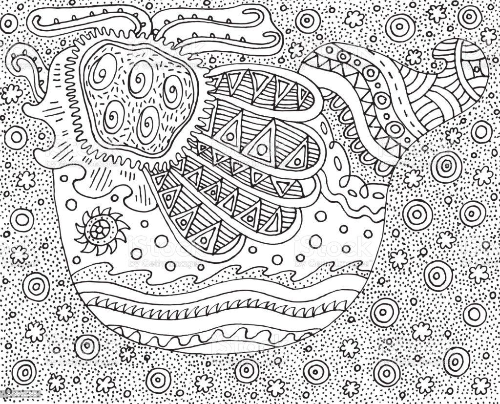Kleurplaten Voor Volwassenen Abstract.Doodle Vogel Psychedelische En Surrealistische Stijl Kleurplaat Voor