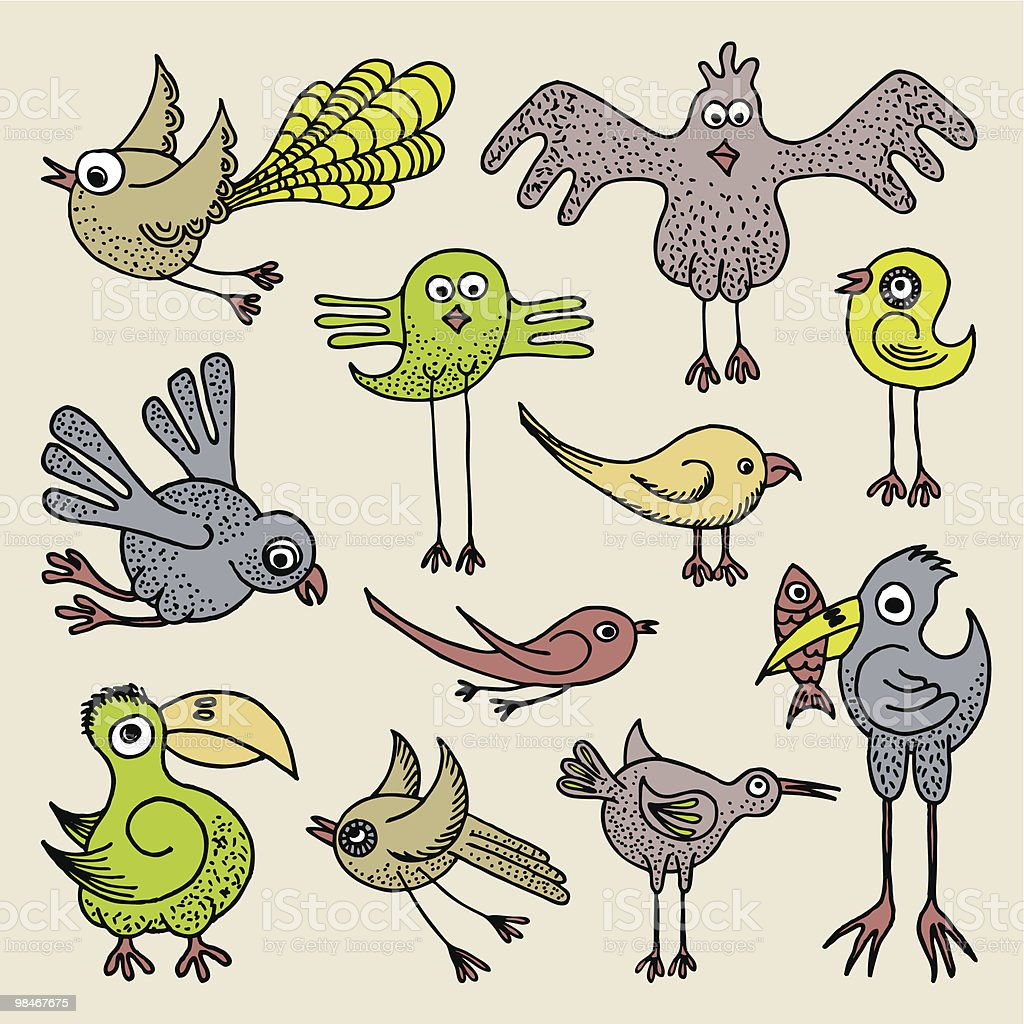 Scarabocchio uccelli scarabocchio uccelli - immagini vettoriali stock e altre immagini di arte royalty-free