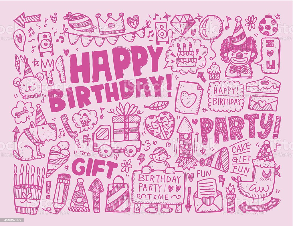 Doodle Birthday Party Background Stock Vector Art More Images of