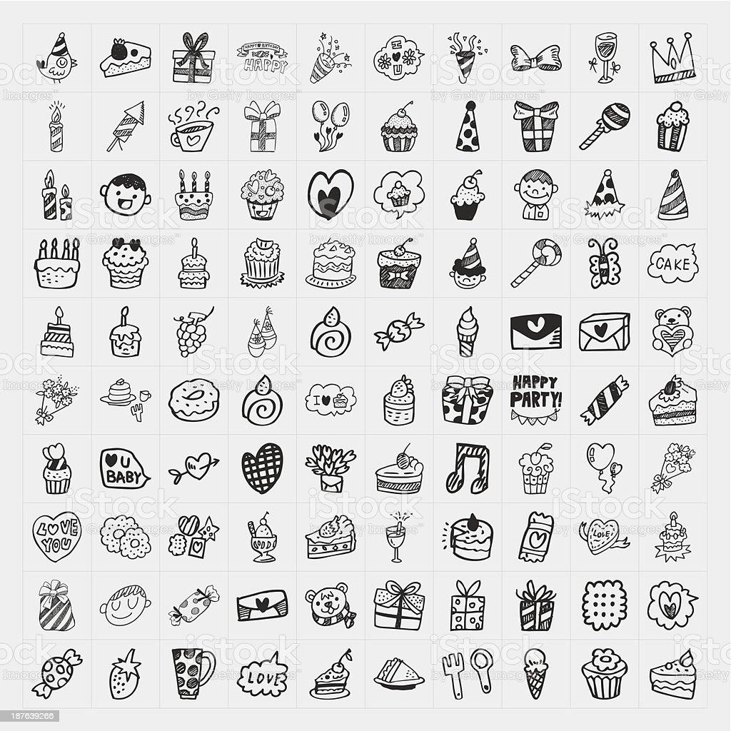 Gekritzel Geburtstag party-icons set – Vektorgrafik