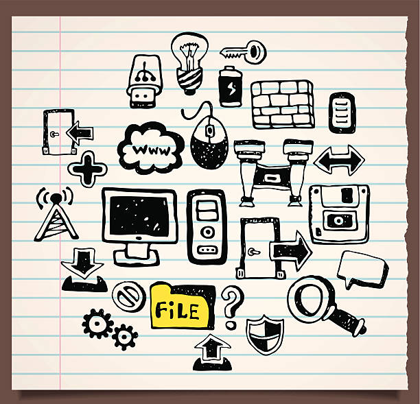 ilustrações de stock, clip art, desenhos animados e ícones de sarrabisco preto e brancos ícones de computador - going inside eye