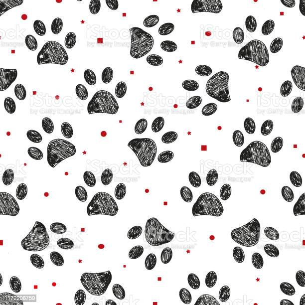 Doodle black paw prints with dots square and stars seamless fabric vector id1172206759?b=1&k=6&m=1172206759&s=612x612&h=2fulo28kwwvmw 3fjl4ase0zqvxi65f84xeaayijqki=