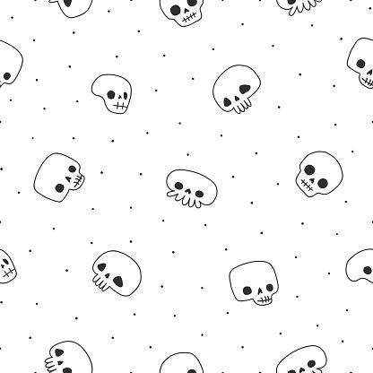 Doodle black & white cute naive skulls vector seamless pattern.