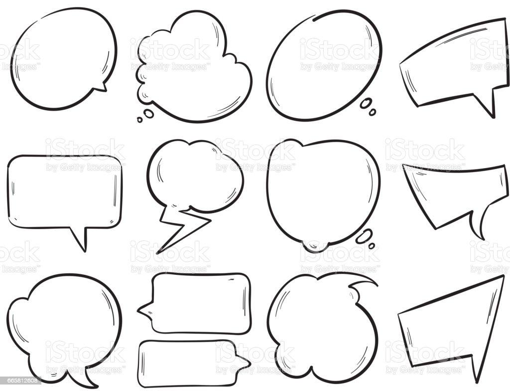 Doodle Blank Speech Bubbles Hand Drawn Cartoon Thinking
