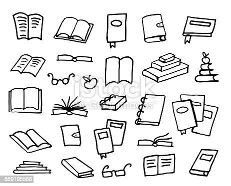 Doodle book collection, vector library sketch illustration
