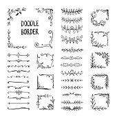 Doodle border. Flower ornament frame, hand drawn decorative corner elements, floral sketch pattern. Vector doodle frame elements
