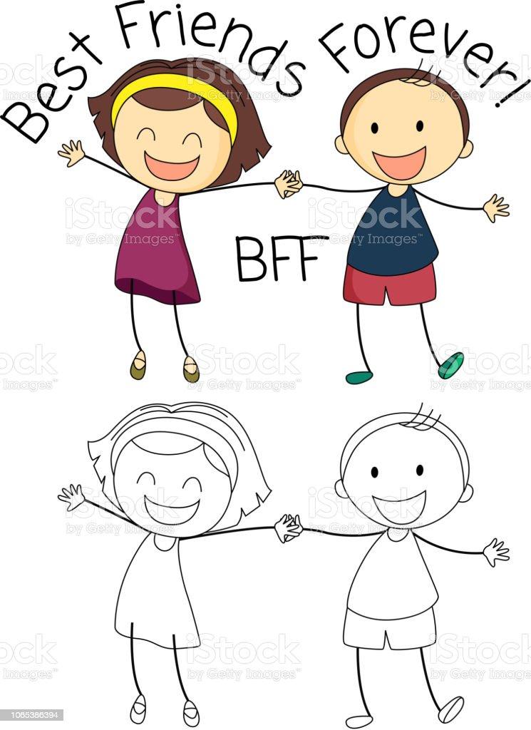 Doodle boy and girl best friends vector art illustration