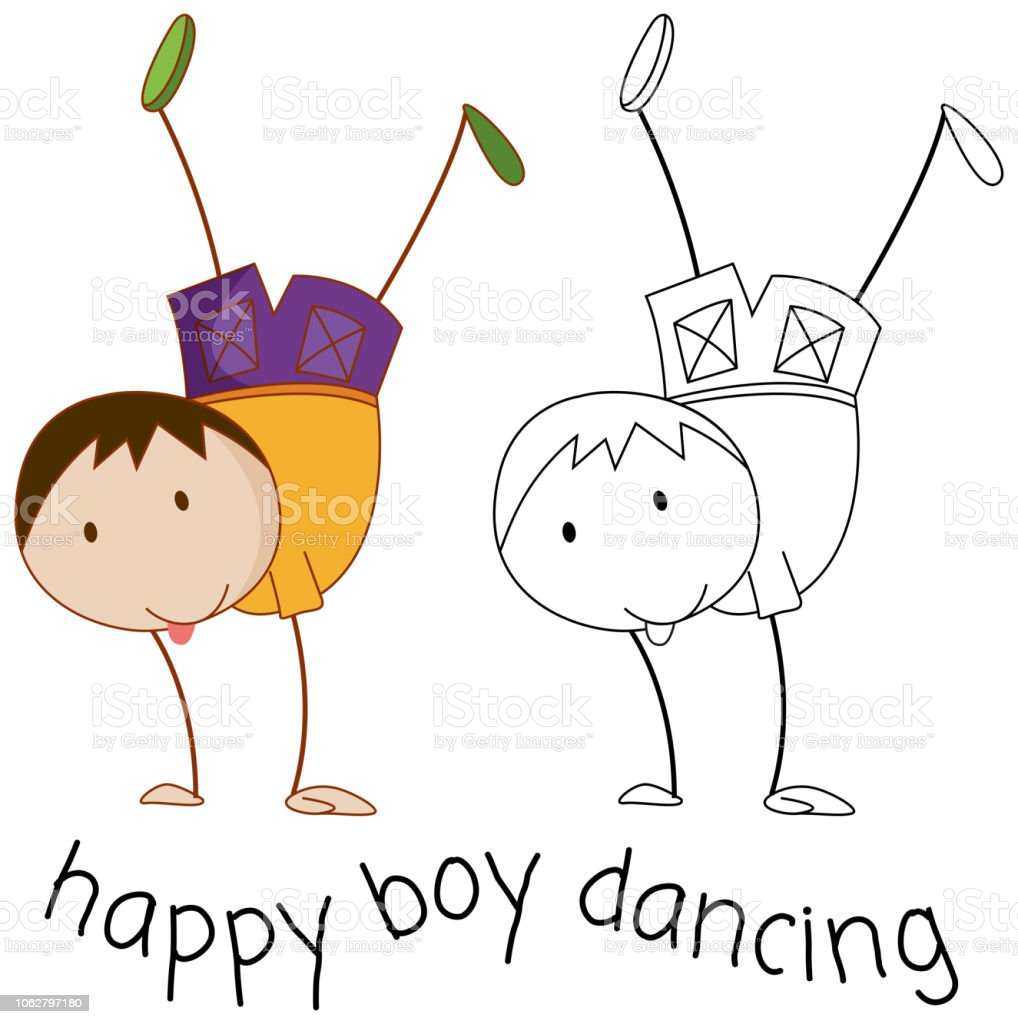 Doodle Boy Character Dancing Stock Illustration - Download Image Now