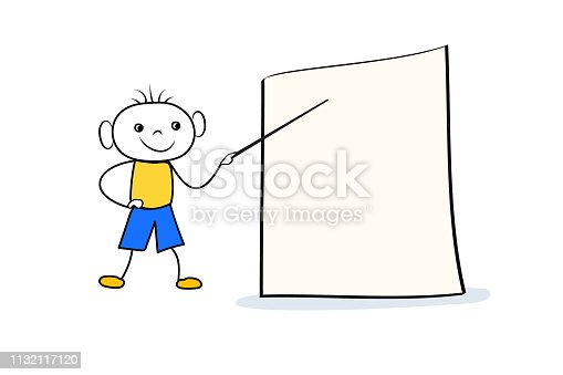 Doodle boy character with pointer near blank board at classroom. Cartoon education presentation concept. Vector illustration