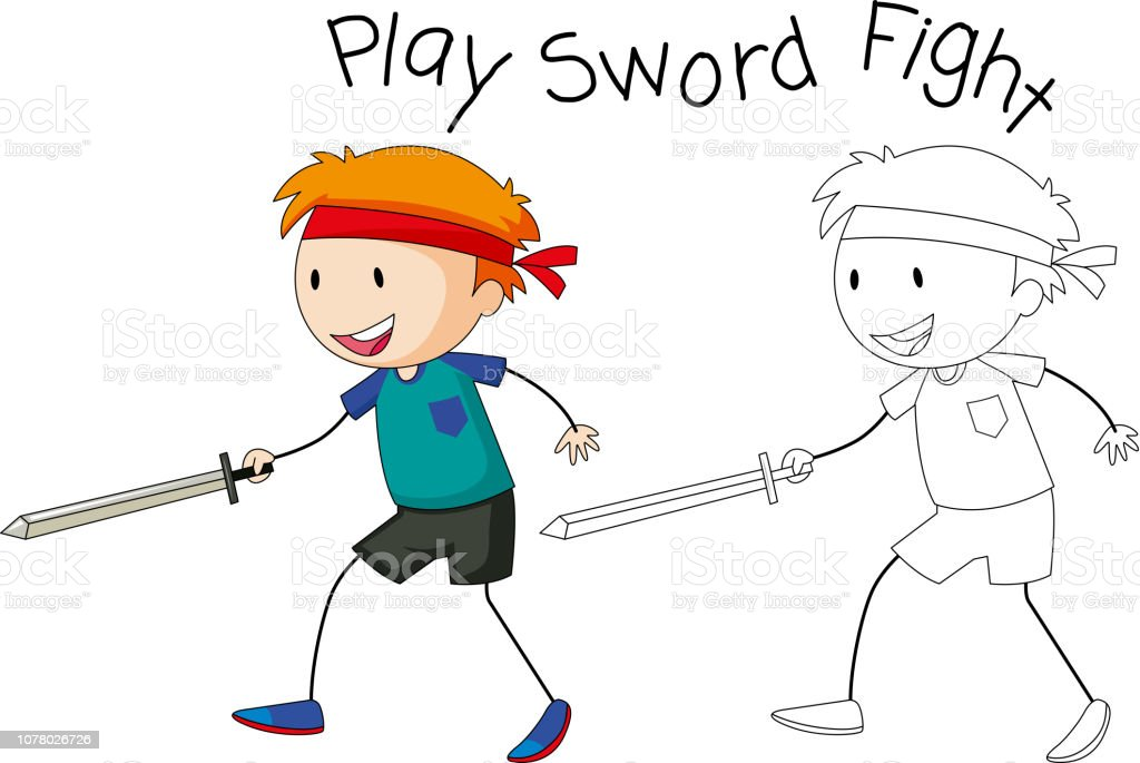 A Doodle Boy Playing Sword Fight Stock Vector Art & More