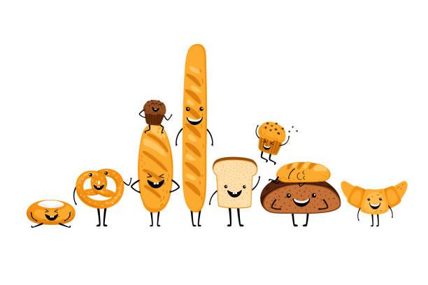 Doodle bread characters set vector art illustration