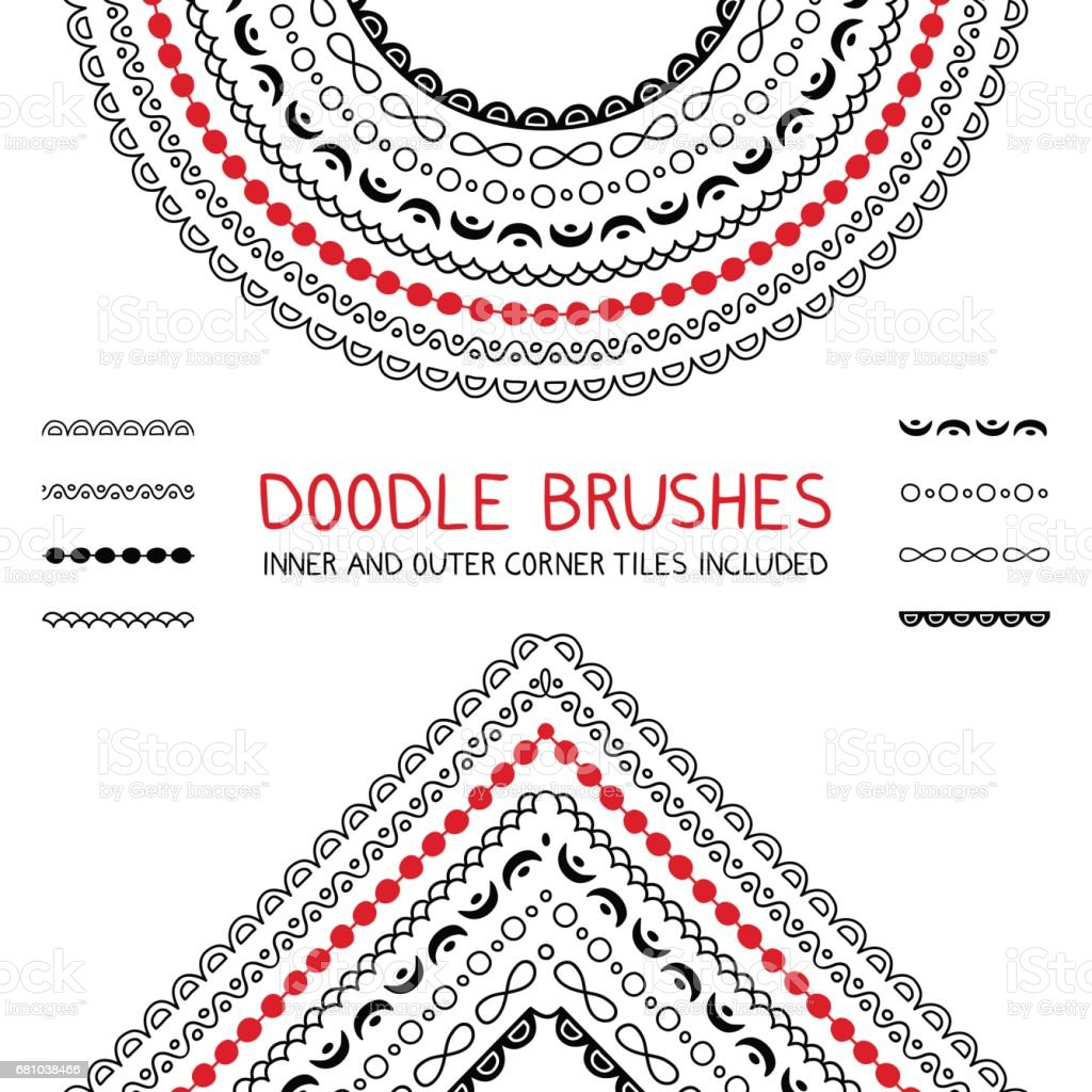 Doodle brushes set vector art illustration