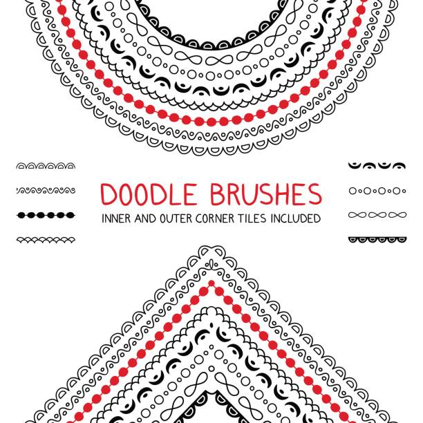 doodle brushes set - scallop stock illustrations, clip art, cartoons, & icons