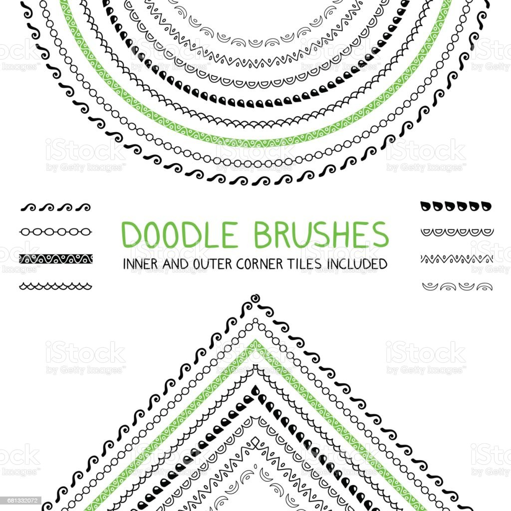 Doodle brushes set vector art illustration