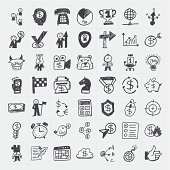 Doodle business icons in black and white