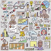 Doodle Business People with Graph and Charts. Hand Drawn Vector Color Illustration.