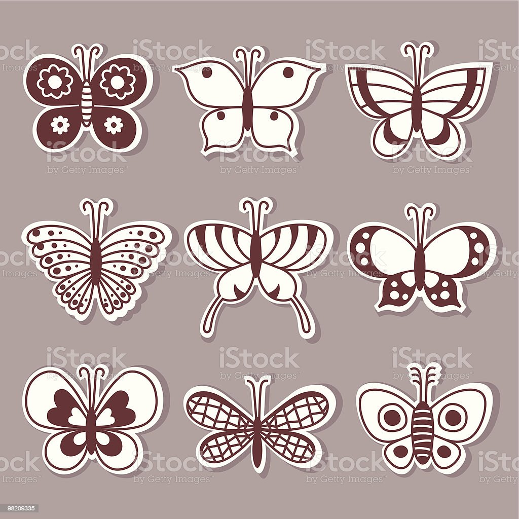 Doodle Butterflies. royalty-free stock vector art