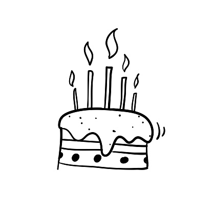 Doodle Cake And Happy Birthday Illustration Vector With Hand Drawn Cartoon Style Stock Illustration - Download Image Now