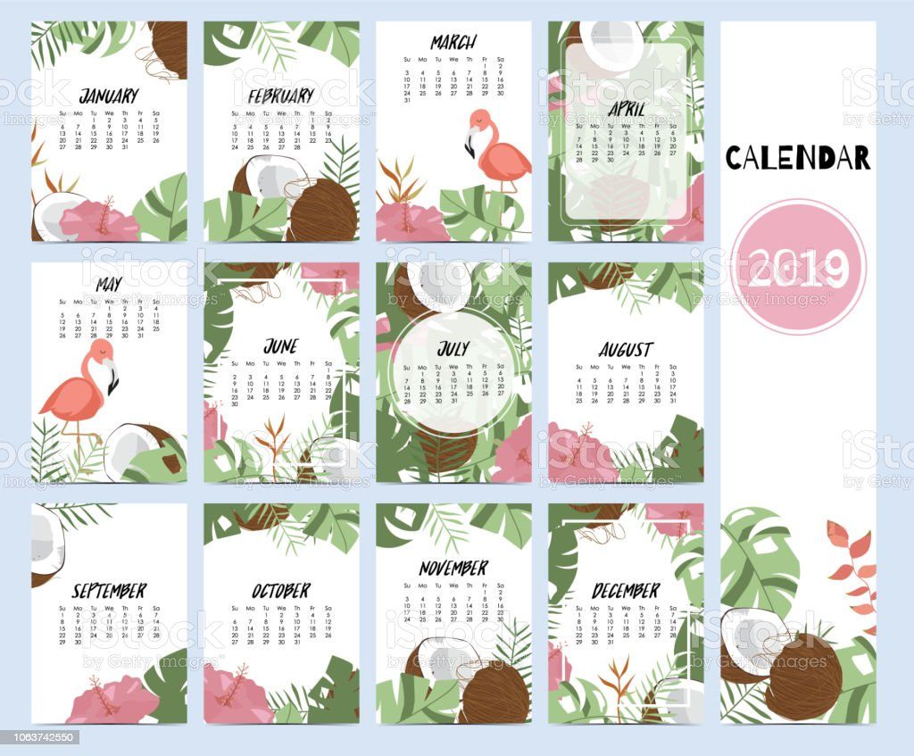 Doodle calendar set 2019 with banana leaf,hibiscus,palm,tree,coconut tree for children.Can be used for printable graphic vector art illustration