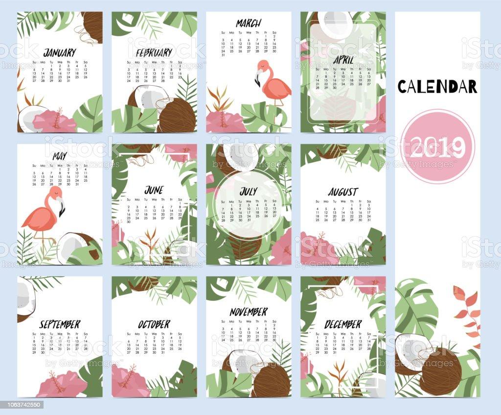 Doodle calendario establecido 2019 con hoja de plátano, hibisco, Palma, árbol, árbol de coco para los niños. Se puede utilizar para el gráfico para imprimir - ilustración de arte vectorial