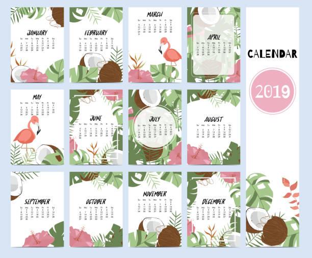 ilustraciones, imágenes clip art, dibujos animados e iconos de stock de doodle calendario establecido 2019 con hoja de plátano, hibisco, palma, árbol, árbol de coco para los niños. se puede utilizar para el gráfico para imprimir - calendario de flores
