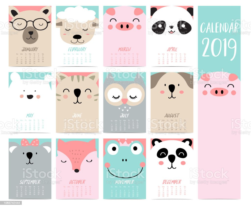 Calendario Fox.Doodle Calendar Set 2019 With Bearpigpandasheepcatowlfoxfogkoala For Childrencan Be Used For Printable Graphic Stock Illustration Download Image Now