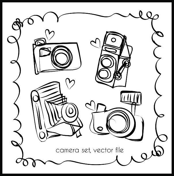 doodle camera set, digital camera and vintage camera向量藝術插圖