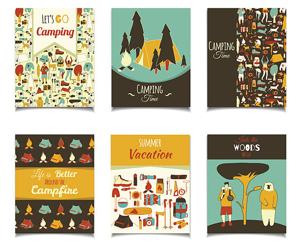 doodle camping flyer Vector card template set with cartoon camping objects. Retro color template colection for posters, greeting cards, flyers, brochure, web designs. Picnic, travel and camping theme. adventure patterns stock illustrations