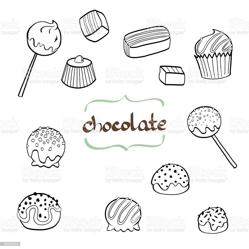 Doodle candys. vector art illustration