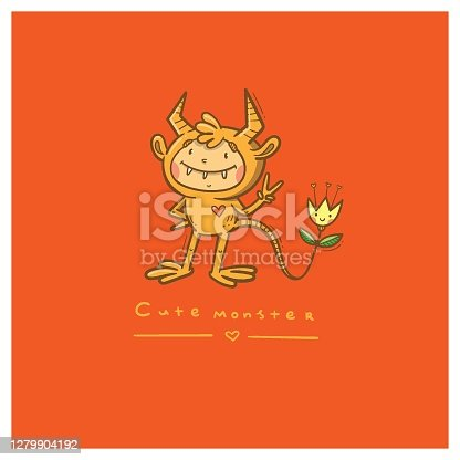 istock Doodle card with cute cartoon monster. Fabulous fictional character. Halloween poster. Vector contour colorful image. 1279904192