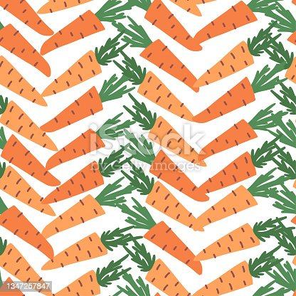 istock Doodle carrots with leaves vector seamless pattern. Hand-drawn texture for kitchen wallpaper, textile, fabric, paper. Food background. Flat fruits on white. Vegan, Grown, Natural 1347257847